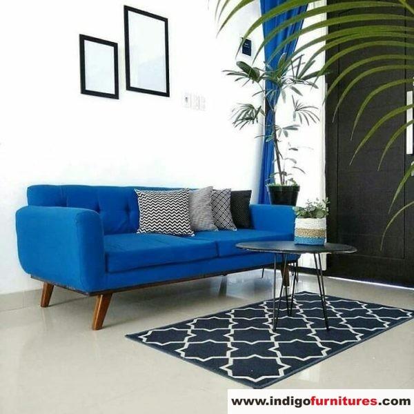 Kursi Sofa Retro Warna Biru Mewah