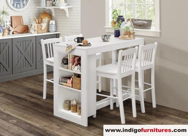 Set Meja Makan Kursi Duco Putih